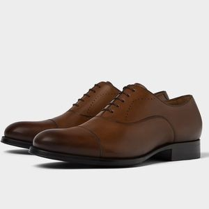 Zara NEW leather lace oxfords Ombré brown